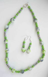Green and Grey Speckled Necklace & Earrings Kit